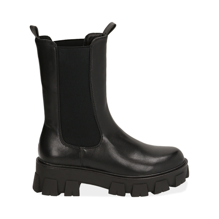 Botines Chelsea negro, platform 6 cm, Primadonna, 160622483EPNERO035
