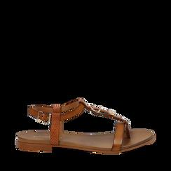 Sandali cuoio in eco-pelle, Primadonna, 13B915101EPCUOI035, 001a