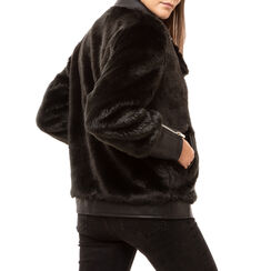 Biker jacket nera in eco fur, Primadonna, 166500906FUNEROM, 002a