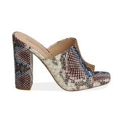 Mules blu/beige in eco-pelle snake print, tacco 10,50 cm, Zapatos, 152709445PTBLBE036, 001 preview