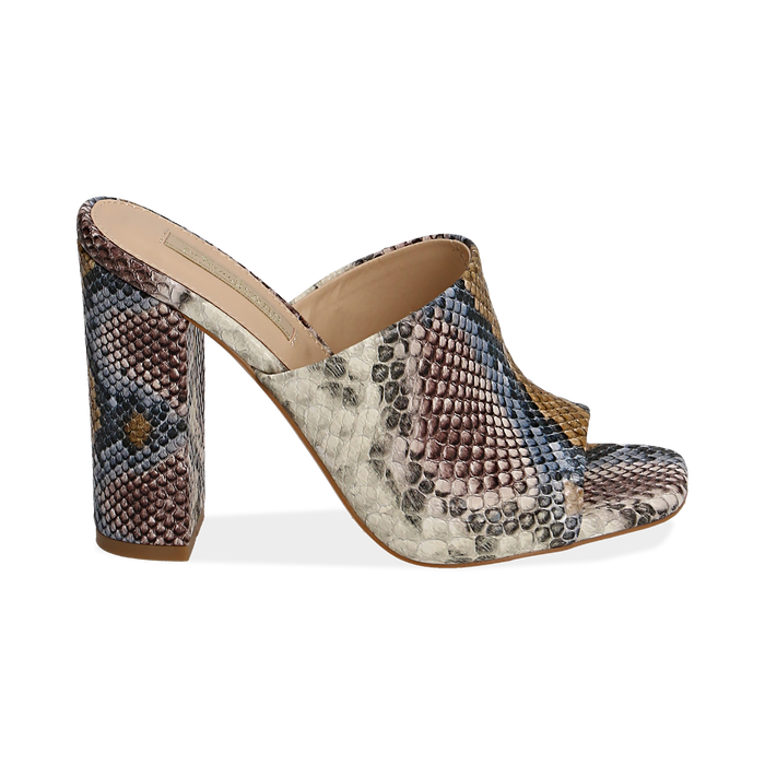 Mules blu/beige in eco-pelle snake print, tacco 10,50 cm, Zapatos, 152709445PTBLBE036
