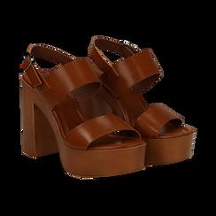 Sandali platform cuoio in eco-pelle con due fasce, tacco 12 cm , Primadonna, 132147761EPCUOI035, 002 preview