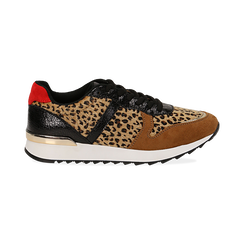 Sneakers leopard marroni in eco-cavallino, Scarpe, 142008377CVLEMA035, 001 preview