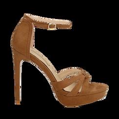 Sandali marroni in microfibra, tacco stiletto 12 cm, Sandali con tacco, 132182184MFMARR035, 001a