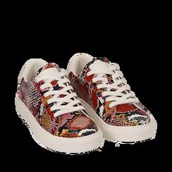 Sneakers nero/rosse in eco-pelle snake print, Sneakers, 152607101PTNERS035, 002a