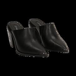 Mules nere in eco-pelle, tacco 8 cm , Scarpe, 142708158EPNERO036, 002 preview