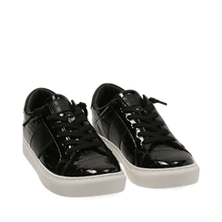 Zapatillas en charol color negro, Primadonna, 162619071VENERO035, 002a