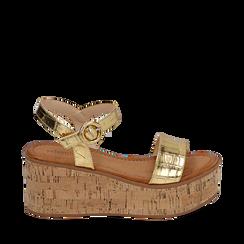 Sandales imprimé crocodile doré, compensée 7,50 cm, Primadonna, 154967318CCOROG039, 001a