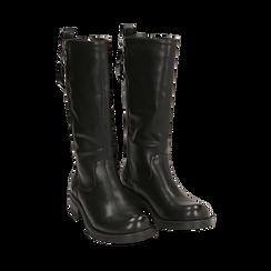 Biker boots con zip neri in eco-pelle, tacco 4,5 cm , 140585013EPNERO035, 002a