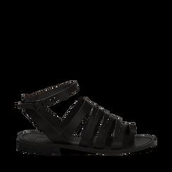 Sandali flat neri in pelle, Primadonna, 138100802VANERO035, 001a