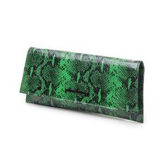 Pochette piatta verde in eco-pelle effetto snake, Borse, 145122509PTVERDUNI, 004 preview