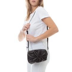 Camera bag nera in eco-pelle con fiocco,