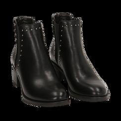 Chelsea boots neri con borchie, tacco 5 cm , Primadonna, 160621232EPNERO036, 002 preview