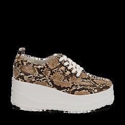Sneakers beige in eco-pelle effetto snake print, zeppa 6 cm, Scarpe, 132008353PTBEIG036, 001a