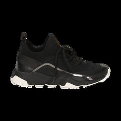 Sneakers nere in lycra con dettaglio effetto mirror, Scarpe, 145019191LYNERO035, 001 preview
