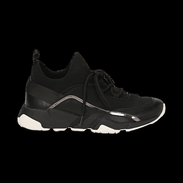 Sneakers nere in lycra con dettaglio effetto mirror, Scarpe, 145019191LYNERO035