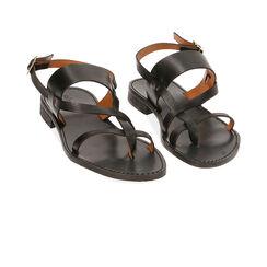 Sandales noires en cuir de vachette, Primadonna, 15D620005VANERO036, 002a