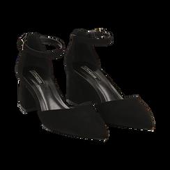 Décolleté nere in microfibra con cinturino, tacco 6 cm , Scarpe, 144942231MFNERO036, 002 preview