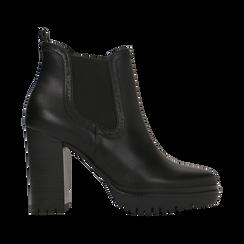 Chelsea Boots neri con plateau e tacco 9,5 cm, Scarpe, 128401247EPNERO, 001 preview