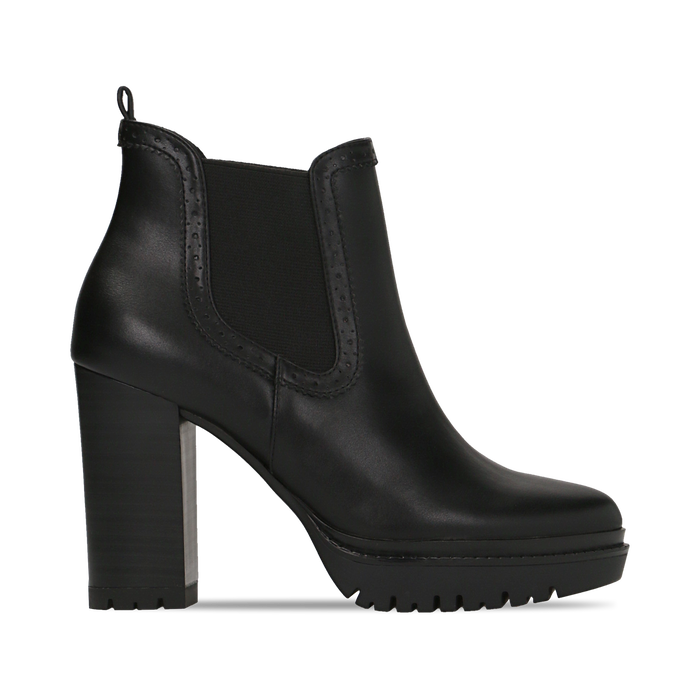 Chelsea Boots neri con plateau e tacco 9,5 cm, Scarpe, 128401247EPNERO
