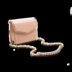 Pochette con tracolla rosa nude in ecopelle vernice, profili mini-borchie, Borse, 123308852VENUDEUNI, 003 preview