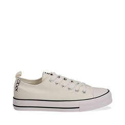 Sneakers bianche in canvas, Scarpe, 137300862CABIAN035, 001a