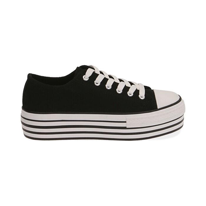 Sneakers negras de lona, Primadonna, 172642102CANERO035