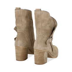 Ankle boots taupe in vero camoscio, tacco 9 , Scarpe, 135600421CMTAUP036, 003 preview