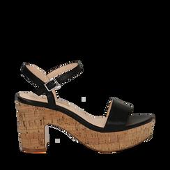 Sandali neri in eco-pelle, tacco in sughero 9 cm , Primadonna, 138402256EPNERO036, 001a