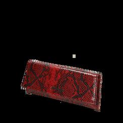 Pochette piatta rossa in eco-pelle snake print, Primadonna, 145122510PTROSSUNI, 002a