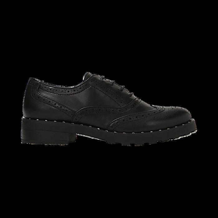 Francesine stringate nera con mini-borchie e lavorazione Duilio, Primadonna, 120682916EPNERO