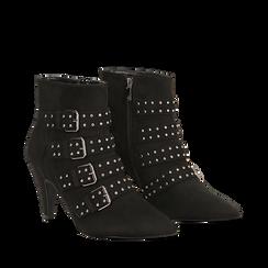 Tronchetti neri con fibbie metalliche, tacco 8 cm, Primadonna, 124988013MFNERO037, 002a