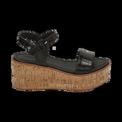 Sandali neri stampa cocco, zeppa 7,50 cm, Scarpe, 154967318CCNERO, 001 preview