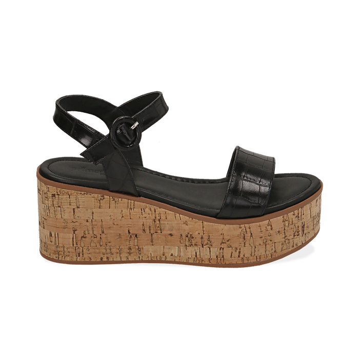 Sandali neri stampa cocco, zeppa 7,50 cm, Scarpe, 154967318CCNERO
