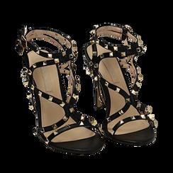 Sandali borchiati neri in eco-pelle, tacco 10,50 cm, Primadonna, 152131515EPNERO035, 002a