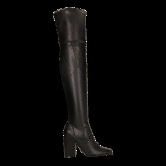 Stivali sopra il ginocchio con tacco 9,5 cm neri, Primadonna, 122186681EPNERO