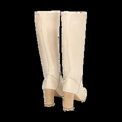 Bottes beige en cuir de veau, talon 9 cm, Chaussures, 158900890VIBEIG036, 003 preview