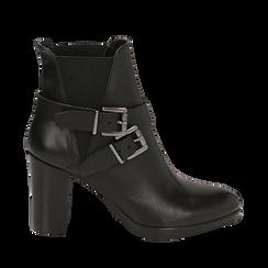 Ankle boots neri in pelle di vitello, tacco 8 cm , Scarpe, 148900180VINERO036, 001a