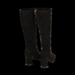 Stivali neri in microfibra, tacco 9 cm , Scarpe, 142182525MFNERO035, 003 preview