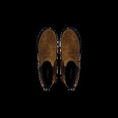 Chelsea Boots cuoio in vero camoscio, tacco medio 5,5 cm, Primadonna, 127723509CMCUOI040, 004 preview