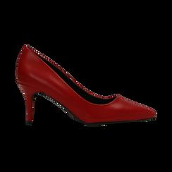Décolleté rosse con punta affusolata, tacco medio 7,5 cm, Primadonna, 122111552EPROSS, 001 preview