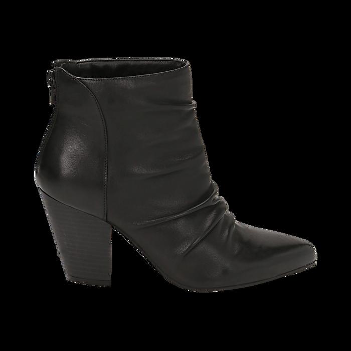 Camperos neri in pelle, tacco 8,5 cm , Scarpe, 14D600911PENERO035