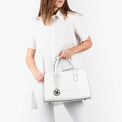 Bolsa de mano en eco-piel con estampado de cocodrilo color blanco, Primadonna, 155702495CCBIANUNI, 002a
