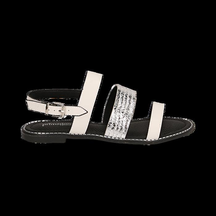Sandali bianchi in eco-pelle, Saldi, 113006512EPBIAN036