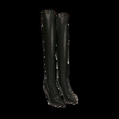Stivali oveknee neri, tacco 9 cm, Primadonna, 162183365EPNERO036, 002a