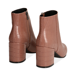 Ankle boots nude stampa cocco, tacco 7,5 cm , Stivaletti, 142762715CCNUDE036, 004 preview