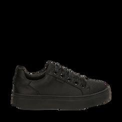 Sneakers nere in tessuto, suola 4 cm, Scarpe, 142509512TSNERO036, 001a