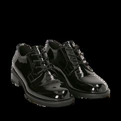 Stringate nere in vernice con lavorazione Duilio, Scarpe, 140585003VENERO035, 002a