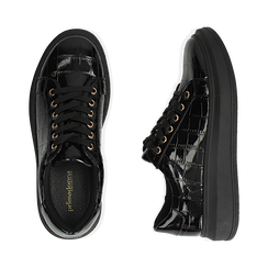Sneakers nere in vernice effetto coccodrillo, suola 4 cm , Scarpe, 142019051VENERO037, 003 preview