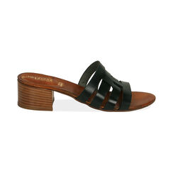Sandali neri in pelle di vacchetta, tacco 4,5 cm , Primadonna, 177248215VANERO036, 001 preview
